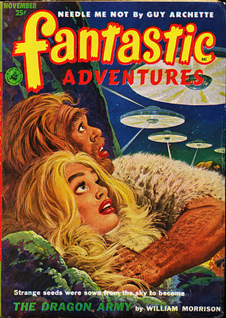 """Joseph Samachson - Samachson's novella """"The Dragon Army"""", written under his """"William Morrison"""" byline, was the cover story in the November 1952 issue of Fantastic Adventures"""