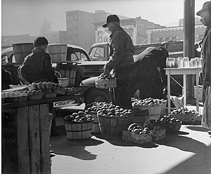 River Market, Kansas City - Farmers and their produce at the City Market, c. 1950.