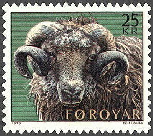 Czesław Słania - A Faroese stamp depicting a ram engraved by Słania (1979)