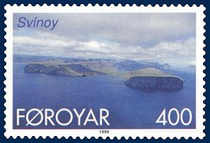 Svínoy - Stamp FR 350 of Postverk Føroya (issued: 25 May 1999; photo: Per á Hædd)