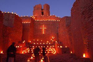 Luminaria - Farolitos, old mission church, Jemez State Monument
