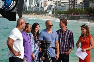 Vin Diesel - The Fast Five cast with Natalie Morales for NBC's Today in April 2011. From left to right: Dwayne Johnson, Chris Bridges, Jordana Brewster, Diesel and Paul Walker