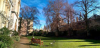 Exeter College, Oxford - The Fellows' Garden, looking toward Radcliffe Square