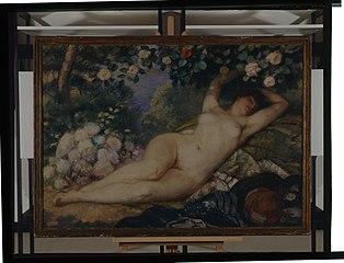 Femme nue à la rose