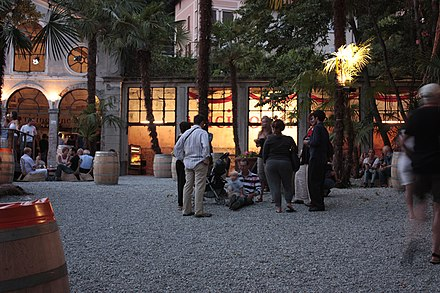 People gathering on Piazza Grande during the Locarno Festival