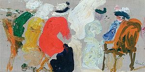 Leslie Hunter - Figures in conversation, Étaples, one of the paintings from 1914 in which Hunter established his style