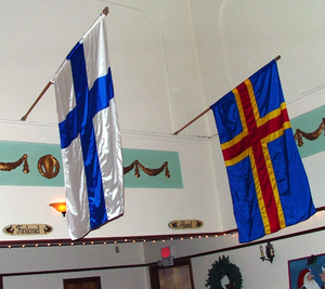 Flag of Åland - The flag of Åland hangs with the flag of Finland.