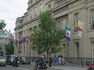 High Commission of Canada in the United Kingdom - Image: Flagsoncanadahouse