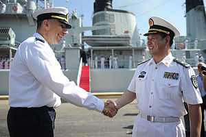 China–Israel relations - Haifa base commander Brig. Gen. Eli Sharvit welcomes RADM Yang Jun-Fei to Israel