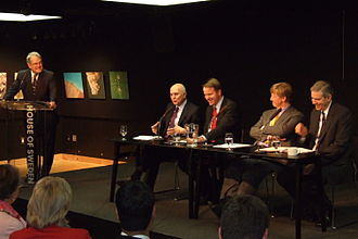 Stavros Dimas - Stavros Dimas discussing with Martin Bursik and Andreas Carlgrenin the House of Sweden in September 2011