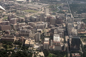 Aerial of the Texas Medical Center, an area in...