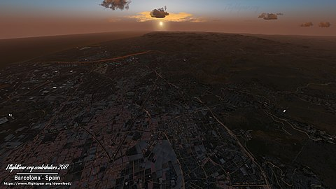 View over Barcelona, Spain showing buildings, roads, and objects generated from OSM data in Flightgear 2017
