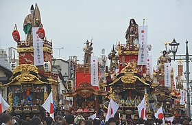 Floats lined up at the Honjo Festival,Honjo city,Japan.jpg