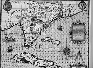 Cuba–United States relations - Detail of 1591 map of Florida and Cuba