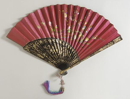 Silk satin leaf, wood sticks and guards, c. 1890 Folding Fan with Box LACMA M.78.108.6a-b (2 of 2).jpg