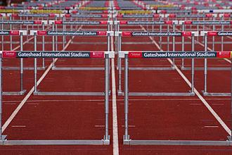 Gateshead International Stadium - Hurdles set out on the sprint straight in 2010