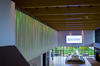 Fort McMurray International Airport - Northern Lights mural and pine beam roof