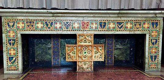 Altar designed by Louis Tiffany at the Fourth Universalist Society in the City of New York. Fourth Universalist Tiffany Altar.jpg