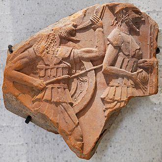 Sozopol - Terracotta plaque of ancient Greek hoplites (Louvre)