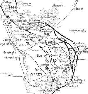 Action of 22 October 1917 - Front line 22 October – 6 November