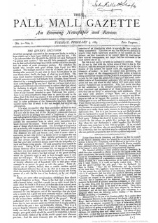 <i>The Pall Mall Gazette</i> British newspaper