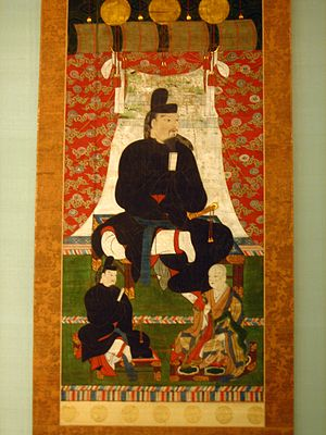 Fujiwara no Kamatari - Fujiwara no Kamatari with his sons Joē and Fujiwara no Fuhito, who is wearing court robes.