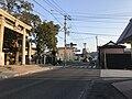 Fukuoka Prefectural Road No.68 in front of Umi Hachiman Shrine.jpg