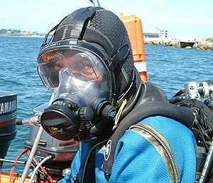 Full face diving mask - A diver wearing an Ocean Reef full face mask