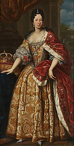 Full portrait painting of Anne Marie d'Orléans as Queen of Sardinia overlooking the Sardinian crown and wearing Savoyard ceremonial robes by an unknown artist (Royal Castle of Racconigi).jpg