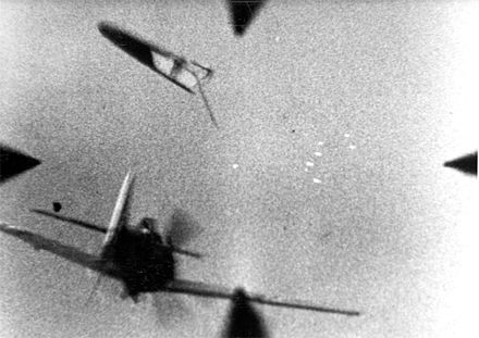 Focke-Wulf Fw 190A shot down by a fighter of the USAAF XXIX Tactical Air Command in 1944 or 1945. German losses were very heavy by late 1944. Fw 190A Abschuss1 1944-45.jpg