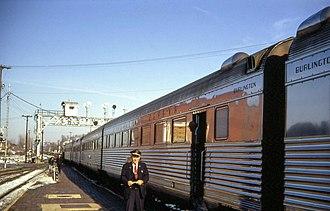 Galesburg station (Amtrak) - The Nebraska Zephyr stopping at the depot in 1968