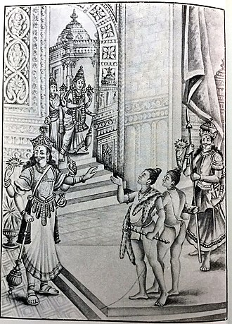 Jaya-Vijaya - Gate keepers of Vaikunda prevent the saints from entering and they were cursed. Vishnu is rushing to the spot