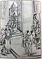 Gate keepers of Vaikunda prevent the saints from entering and they were cursed. Vishnu is rushing to the spot.jpg