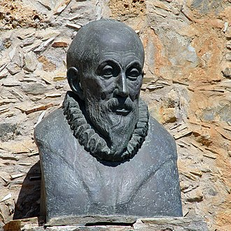Museum of El Greco - Bust of El Greco outside the museum.