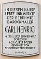 Gedenktafel Mustergasse 19 (Bozen) Johann Josef Karl Henrici.jpg