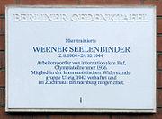 Gedenktafel Thomasstr 39 (Neuk) Werner Seelenbinder