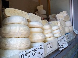 Georgian cuisine - Imeruli cheese in a Tbilisi shop