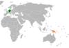 Lage von Deutschland und Papua-Neuguinea