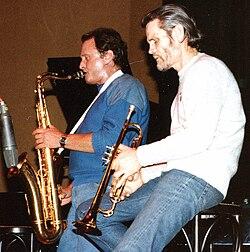 Chet Baker (a destra) con Stan Getz nel 1983