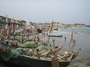 Fishing in Ghana - Fishing vessels at Cape Coast.