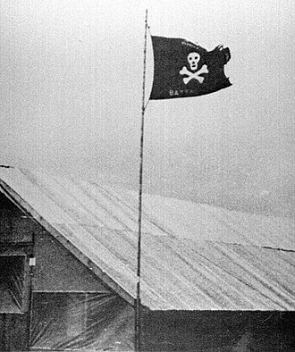 Jolly Roger - Ghost Battalion colors at Quang Tri.  The Seabees had 11,000 graves to move in order to construct that airfield. (U.S. Navy)