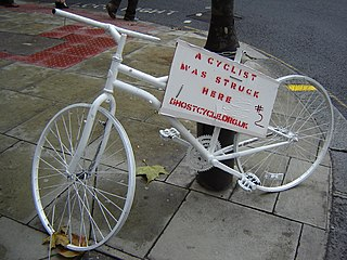 A bicycle painted white, remembering a traffic victim