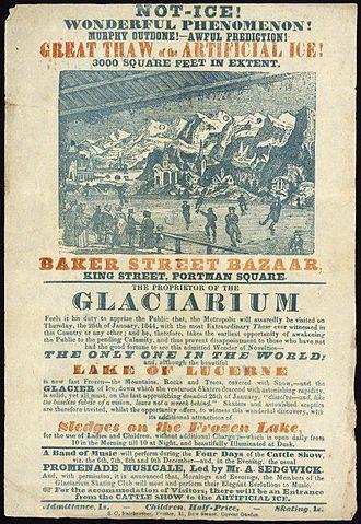 Glaciarium - An 1844 poster for the Glaciarium