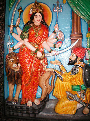 Bhavani - Goddess Bhavani giving the sword to Shivaji, at Tuljapur.