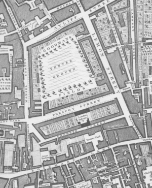 Mansell Street - Detail from John Rocque's Map of London, 1746
