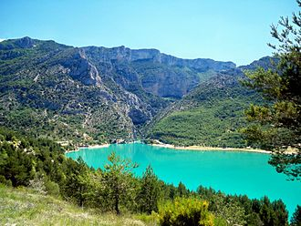 Verdon Gorge - View of the entrance to the Verdon Gorge with Lac de Sainte-Croix in the foreground.