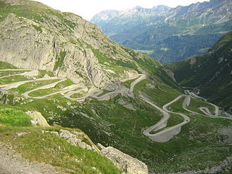 Gotthard Base Tunnel - The old pass road, the Tremola