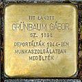Grünbaum Gábor stolperstein (Budapest-07 Huszár u 6).jpg