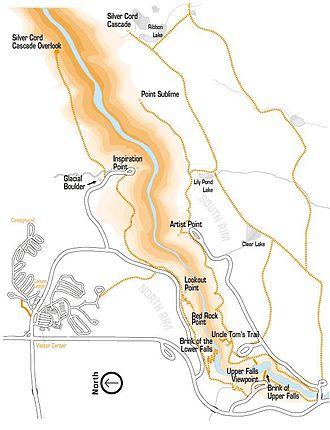 Grand Canyon of the Yellowstone - Image: Grand Canyonofthe Yellowstone Map