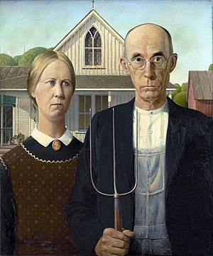 Sedentism -  Grant DeVolson Wood's American Gothic depicts a sedentary American family in front of their permanent living structure